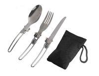 cuchara de acero inoxidable plegable tenedor al por mayor-Nuevo llega 3 en 1 vajilla de picnic plegable para acampar al aire libre Tenedor y cuchara plegables de acero inoxidable de alta calidad