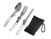 ingrosso forchetta pieghevole in acciaio inox-Nuovo arriva 3 in 1 pieghevole da campeggio per picnic stoviglie forchetta e cucchiaio pieghevole in acciaio inossidabile di alta qualità