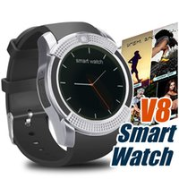 Wholesale Pink Message - Bluetooth Watches Smart Watch V8 For Android Cellphone Support SIM TF Card Camera with Retail Box