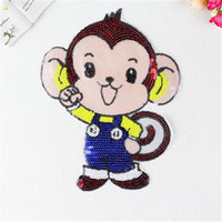 Wholesale Sewn Cartoon Monkey - 2016 Colorful Cartoon Monkey Sequins Sew On Patches Paillette Embroidered Cloth Applique Badge Fabric Apparel Sewing Crafts DIY