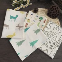 Wholesale 30 cm hemp cotton christmas series placemat cartoon table napkin mats Cotton Printed Napkin JF