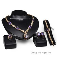 Wholesale Gem Ring 14k - Creative Literally Gem Necklace Earrings Bracelet Ring Sets Wedding Accessories Gold Plated Yeallow Crystal Jewelry Sets Women's Present