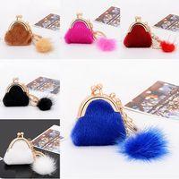 Wholesale Wholesale Delicate Chains - 20Pcs 6 Colors Delicate Small Bag Keychain Genuine Rabbit Fur Ball Plush Key Chain for Car Key Rings Bag Pendant Car Keychains F690