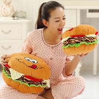 Wholesale Round Throw Pillows - Soft Plush Toys Hamburger Pillow Cartoon Round Cushion Household Throw Pillow Creative Gift Swathes Whimsy Funny Doll EA