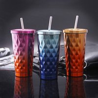 Wholesale Cold Coffees - 500ML Gradient Color Stainless Steel Cold Cup Coffee Drink Tea Mug Travel Insulation Straw Cups With Lid 3 Color Free Shipping WX9-27