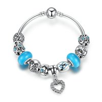 Elegante Pandora Style Beaded Charm Bracelets with Lake Blue Smooth Beads Braceletes de coração ondulados DIY Bracelets BL213