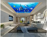 papel de parede de parede mural de parede 3d venda por atacado-3d murais de teto papel de parede personalizado foto não-tecido mural 3 d murais de parede papel de parede para paredes 3d mar mundo tubarão golfinhos decoração pintura