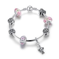 Wholesale Pandora Love Birds - European Pandora Style Charm Bracelets with Pink Flower Murano Glass Beads & Bird Dangles Fashion DIY Bangle Bracelets for Women BL157