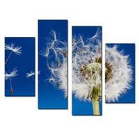 ingrosso pittura a olio di arte a parete fiori bianchi-Amosi Art-4 pezzi di arte della parete pittura fiori di tarassaco fiori bianchi stampe su tela immagini olio per la casa arredamento moderno con cornice in legno