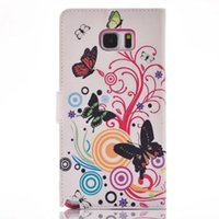 Wholesale Zebra Iphone Wallet Wholesale - Flower Butterfly Flip Wallet Leather Pouch Case For Samsung Galaxy S7 S5 S6 Edge NOTE5 Iphone 6 6S Plus UK USA Flag Zebra Stand Cover 10pcs