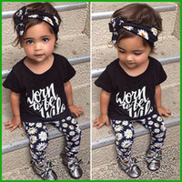 Wholesale Top Baby Girl Clothes - fashion printed girl suits black haedband letter short t-shirt floral pants baby casual girl clothing sets 3pcs cotton o-neck tops wholesale