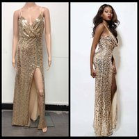 Wholesale Dress Instock - Instock 2016 Sexy Gold Sequined Prom Dress Maxi Split Evening Party Dresses Floor Length Formal Cocktail Dress Gowns
