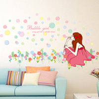 Wholesale Bubble Posters - Bubble Girl on the Grassland Wall Art Mural Poster Pretty Girl Blowing Bubbles Wall Stickers Every Girl's Dream Wall Quote Wall Decals