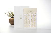 Wholesale Card Making China - Gatefold laser cut wedding invitation, rose embossing wedding card invite, white invitation card, Made in China