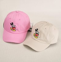 Wholesale Korean Fashion Hats - 2017 New Korean cartoon animal baseball cap solid color Mickey embroidery sun hat for men women SNAPBACK fashion lovers cap