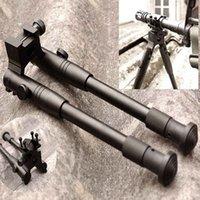 namlu monte picatinny rail toptan satış-Taktik Siyah Avcılık için Katlanabilir Bipod Tüfek 20mm Picatinny Ray Tüfek Namlu Dağı ile Ayarlanabilir Yükseklik 11-15 inç Tüfek Bipod