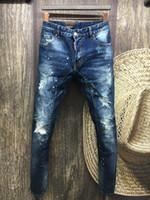 Wholesale Men Paint Jeans - N0.A112 MAN 2016 Summer men's Slim jeans shorts hole patch jeans locomotive times throwing paint beach pants BLUE
