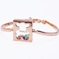 Wholesale European Beads Bear - Fashion 18K Gold Platinum Bangles Plated Floating Zircon Rhinestone Letters to us Bear Charm Bracelets Crystal Women Jewelry Accessory