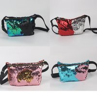 Wholesale Double C Clothes - Lady Cosmetic Storage Bags Multi Function Mermaid Sequins Waist Pack One Shoulder Purse With Zipper Double Color Popular 14lj C R