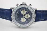 Wholesale Navitimer Automatic - Top Quality New Brand automatic Men's Wristwatch NAVITIMER Ti3 Blue Dial Blue Leather 1884 Fashion Male watch