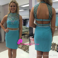 Wholesale Tights For Cheap - Sky Blue 2016 Two Piece Sheath Tight Homecoming Dresses for Teens Sheer Beaded Neck Backless Crystal Mini Rachel Allan Graduation Gown Cheap