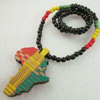 Wholesale jamaica reggae - Africa Map Good Wood Long Necklace Jamaica Pendant Rasta Rastafari Selassie Marley Reggae 38 inches