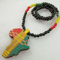 ahşap kolye kolye toptan satış-Afrika Haritası Iyi Ahşap Uzun Kolye Jamaika Kolye Rasta Rastafari Selassie Marley Reggae 38 inç