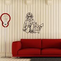 asche poke großhandel-Poke Wandaufkleber Ash Ketchum und Pikachu Karikatur sickers schwarz weiß Skizze Aufkleber 56 * 57cm für Kinderzimmer Dekor T403-2