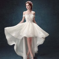 Wholesale Plus 3d Model - C.V Cap Sleeve Sweetheart Asymmetric Short Wedding Dresses 2017 Hand Made Flower Beaded Organza Low-High Beach Wedding Dresses W0087