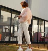 Wholesale Hot Pink Faux Fur Coat - Hot sales Fany Girl Faux Fox Fur Vest short Coat Women snowsuit A round neck Gilet Fourrure Ladies Colored pink beige streetwear coats