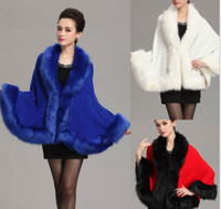Wholesale Dress Autunm - New Autunm Winter Women Knitted Wool Cashmere With Faux Fox Fur Trim Shawl Double Female Poncho Fur Pashmina Noble Party Dress