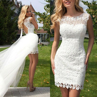 Wholesale Mini Wedding Dresses Detachable - Short Summer Beach Wedding Dresses 2017 Crew Appliques Lace Backless Detachable Train Sexy White Ivory Bridal Gowns