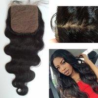 Wholesale silk bleach knot closure - Cheap Silk Base Closure 4x4 Bleached Knots Unprocessed Brazilian Virgin Hair Body Wave Closure 8-22inch G-EASY