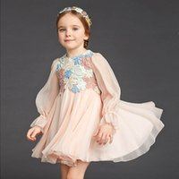 Wholesale Flannel Dressing Gown - Embroidered Lace Flower Girls Dress Winter 2016 Children Clothing Kids Dress for Princess Holiday Party Wedding Toddler Autumn