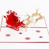 Wholesale fd free - 5Pcs Santa Claus 3D Laser Cut Pop Up Paper Handmade Postcards Custom Greeting Cards Christmas Gift 13*20Cm Free Shipping Fd 08