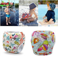Wholesale Infant Reusable Diapers - Adjustable Baby Swim Diaper Nappy Pants Infant Baby Boy Girl Reusable Swimwear 10 Colors 0-3 Years Swimming Trunks Swimwear