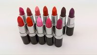 Wholesale lipstick new for sale - Group buy New M top quality Makeup Lipstick Amplified Luster Lipstick RUBY WOO Frost Matte Lipstick g colors