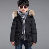 2016 Marke Kinder echte Ente Daunenjacken / Mäntel Parkas Pelz Big Boy Mantel dick Daunenjacke Outerwears Winter-40degree