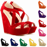 Wholesale High Wedge Platform Shoes Green - Fashion Women Pumps Platform Pumps Shoes For Women Peep Toe Wedges High Heels Shoes Lady Wedding Shoes Size US 4-11 391-10Suede