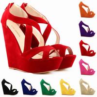 Wholesale Ladies High Heel Platform Wedges - Fashion Women Pumps Platform Pumps Shoes For Women Peep Toe Wedges High Heels Shoes Lady Wedding Shoes Size US 4-11 391-10Suede