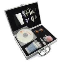 Wholesale Professional Hair Extensions Kit - Brand New Professional High Quality False Eyelash Eye Lashes Extension Scissors Tweezers Tampons Full Set Kits with High-grade Aluminum Case