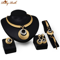 Wholesale Gold Ring Earing Set - Ruby.Ruth jewelry sets african bridal 18k gold wedding dubai sieraden fashion women crystal perhiasan necklace earing Bracelet ring set