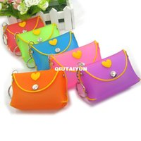 Wholesale Silicone Wallet Zipper - Silicone Coin Purse Lovely Key Wallet Bag Silicone Money Bag Lovely color Wallet randomandmixed Free shipping WY182