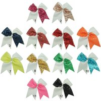 Wholesale Metallic Ribbons - Wholesale 7 inch Half Sequin Girls Cheer Bows Grosgrain Ribbon Rhienstone Baby Kids Cheerleading Bows With Alligator Clip 12 pcs lot