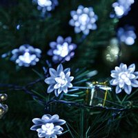 Atacado-4.8M 20LEDs Lotus Flower Solar Lamp Garden Waterproof Decoração Fairy Holiday Christmas Solar LED Light