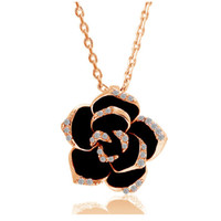 Wholesale Rose Zircon Necklace - 2016 new fashion black flower rose pendant necklace 18k gold plated zircon rhinestone paiting chain necklace jewelry colar 82606