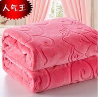 Wholesale Blankets For King Beds - Home Textile King Size 200x230cm 10Different Solid Color Blanket Bedding sofa car Throw and Double Faced Travel Flannel Blanket for Bed