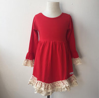 vestido de crochê vermelho venda por atacado-Moda Kid Girl Vestido de Algodão Flor Manga Comprida Bege Crochet Lace Em Camadas Bonitos Do Bebê Crianças Red Princess Dress