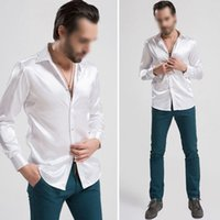 Wholesale White Silk Shirts For Men - Wholesale-New Hot Arrival Custom Made Any Colors Elastic Silk like Satin Men Wedding Shirt Groom Shirts Wear Bridegroom Slik Shirt For Men