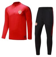 Wholesale Train Set Free - Top quality 17 18 Monaco soccer jerseys training suit Kits 2017 2018 adult football track Suit set Male Hoodies free shipping